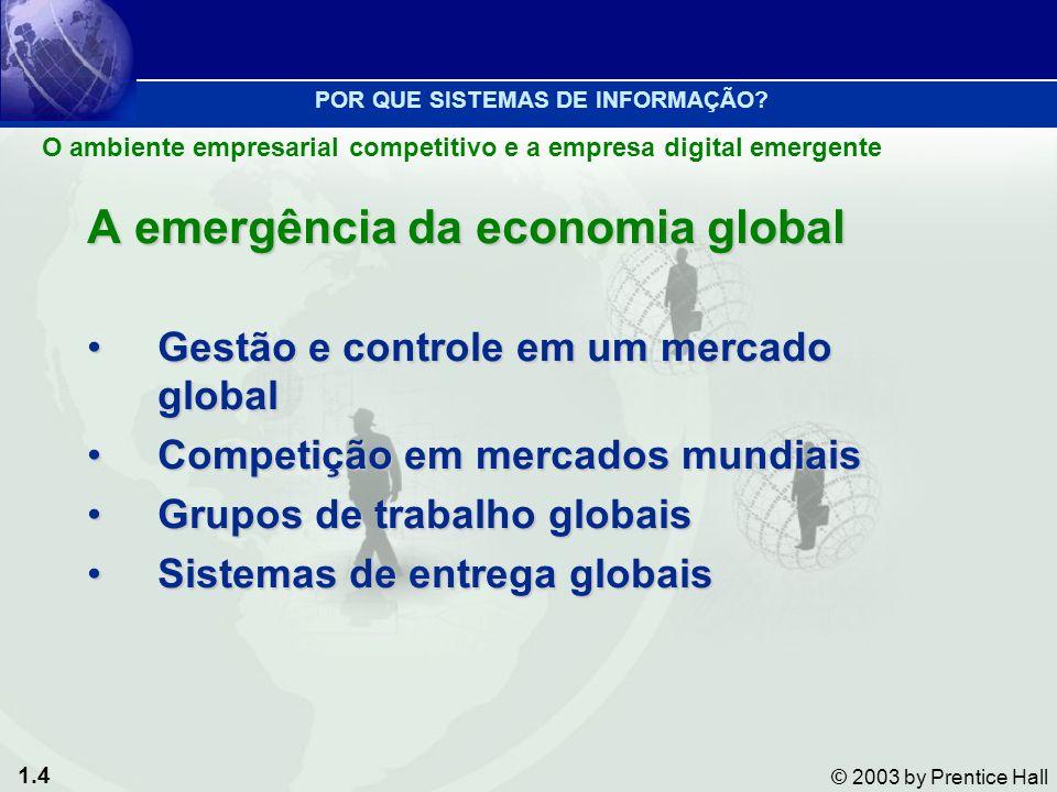 1.4 © 2003 by Prentice Hall A emergência da economia global Gestão e controle em um mercado globalGestão e controle em um mercado global Competição em