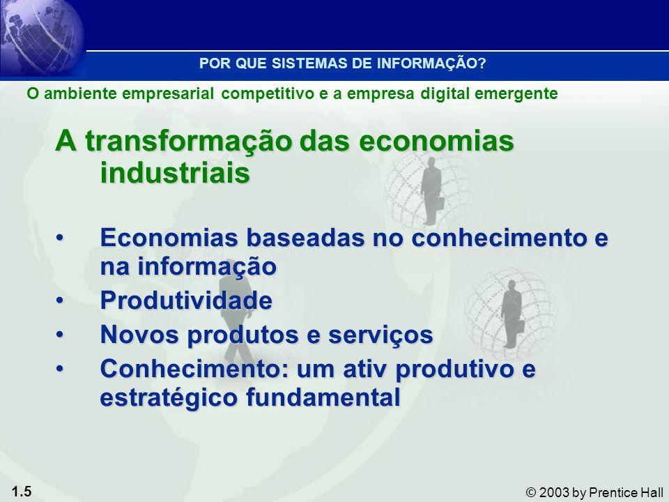 1.5 © 2003 by Prentice Hall A transformação das economias industriais Economias baseadas no conhecimento e na informaçãoEconomias baseadas no conhecim