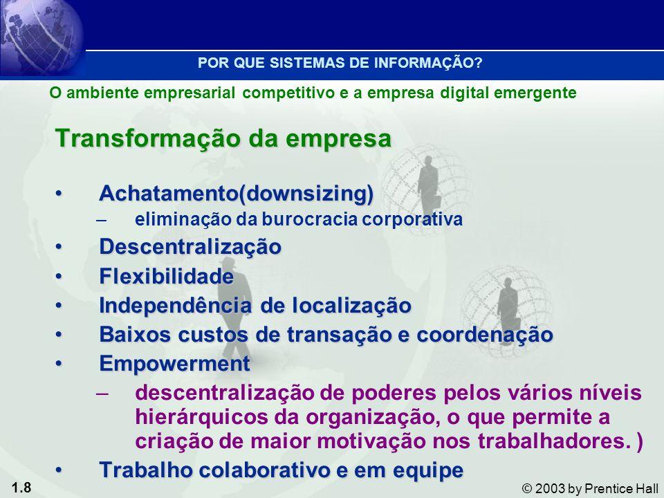 1.8 © 2003 by Prentice Hall Transformação da empresa Achatamento(downsizing)Achatamento(downsizing) –eliminação da burocracia corporativa Descentraliz