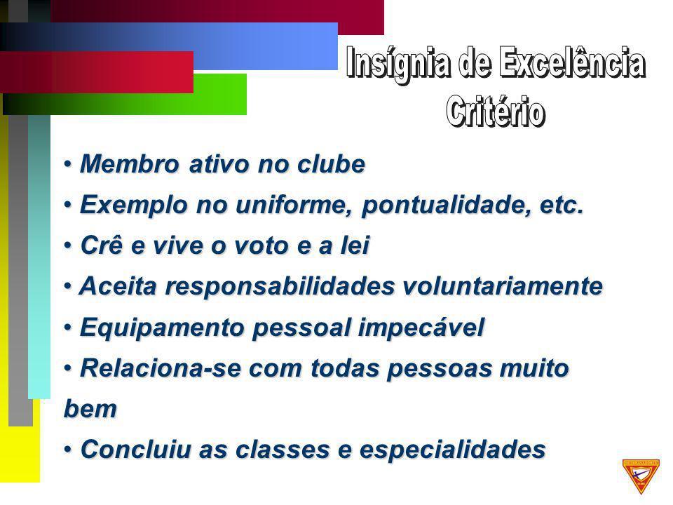 Membro ativo no clube Membro ativo no clube Exemplo no uniforme, pontualidade, etc.