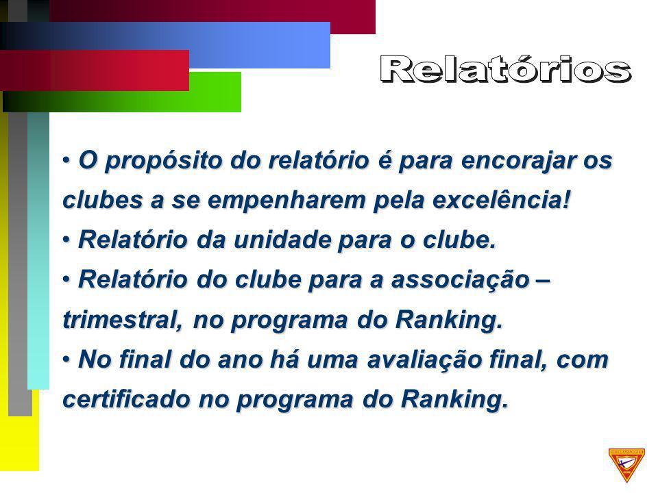O propósito do relatório é para encorajar os clubes a se empenharem pela excelência.