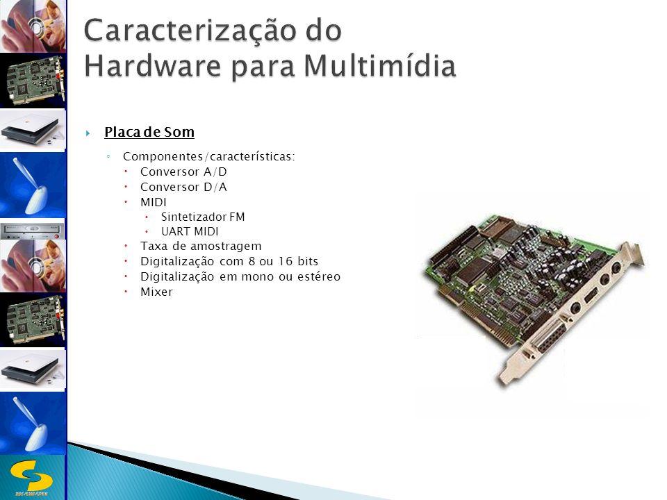 DSC/CEEI/UFCG Placa de Som Componentes/características: Conversor A/D Conversor D/A MIDI Sintetizador FM UART MIDI Taxa de amostragem Digitalização com 8 ou 16 bits Digitalização em mono ou estéreo Mixer