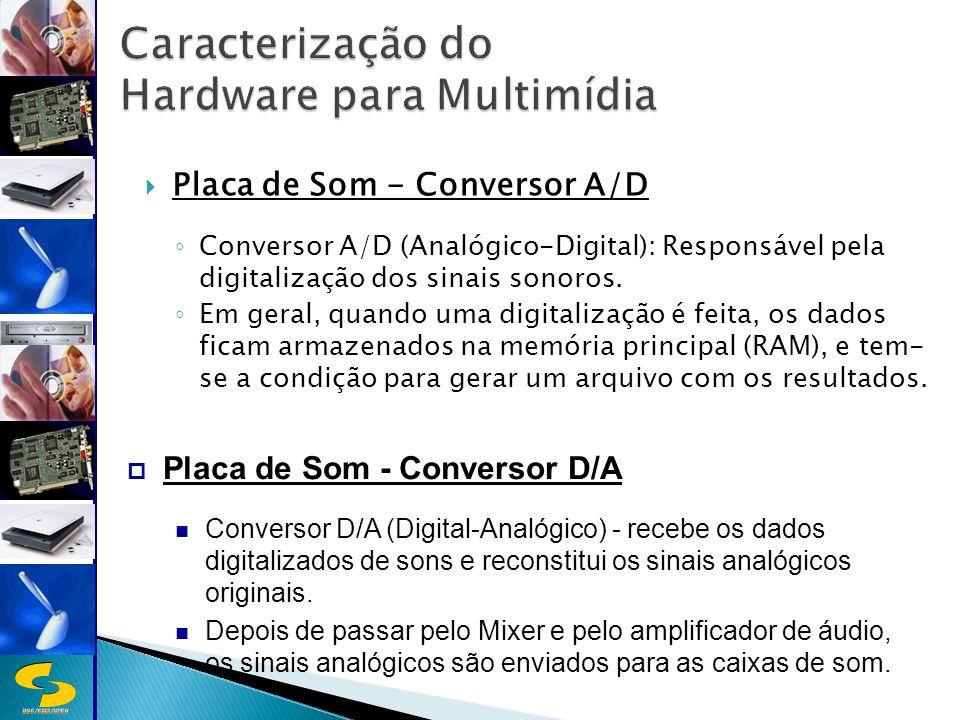 DSC/CEEI/UFCG Placa de Som - Conversor A/D Conversor A/D (Analógico-Digital): Responsável pela digitalização dos sinais sonoros.