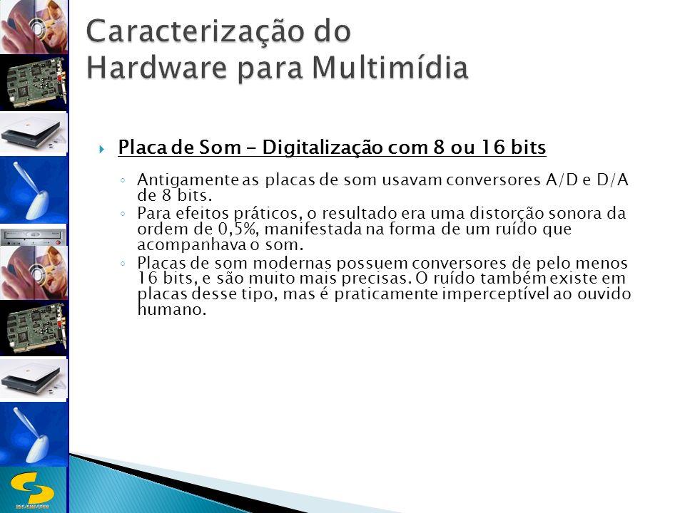 DSC/CEEI/UFCG Placa de Som - Digitalização com 8 ou 16 bits Antigamente as placas de som usavam conversores A/D e D/A de 8 bits.