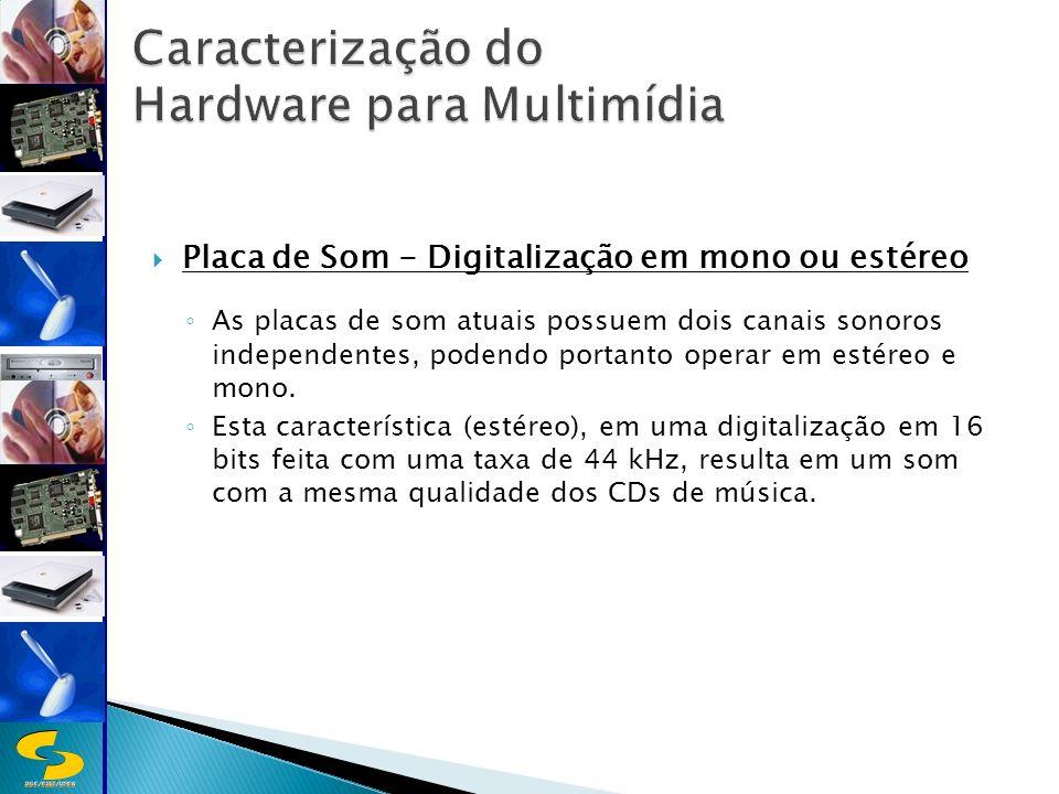 DSC/CEEI/UFCG Placa de Som - Digitalização em mono ou estéreo As placas de som atuais possuem dois canais sonoros independentes, podendo portanto operar em estéreo e mono.