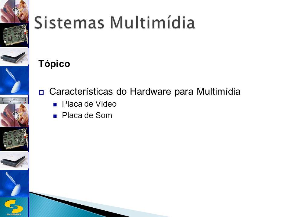 DSC/CEEI/UFCG Tópico Características do Hardware para Multimídia Placa de Vídeo Placa de Som