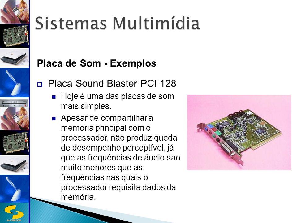 DSC/CEEI/UFCG Placa de Som - Exemplos Placa Sound Blaster PCI 128 Hoje é uma das placas de som mais simples.