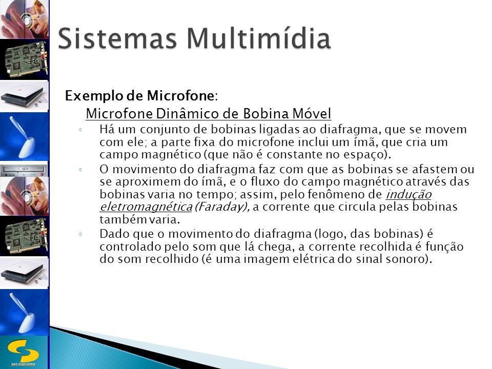 DSC/CEEI/UFCG Exemplo de Microfone: Microfone Dinâmico de Bobina Móvel Há um conjunto de bobinas ligadas ao diafragma, que se movem com ele; a parte fixa do microfone inclui um ímã, que cria um campo magnético (que não é constante no espaço).