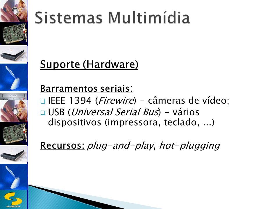 DSC/CEEI/UFCG Suporte (Hardware) Barramentos seriais : IEEE 1394 (Firewire) - câmeras de vídeo; USB (Universal Serial Bus) - vários dispositivos (impressora, teclado,...) Recursos: plug-and-play, hot-plugging