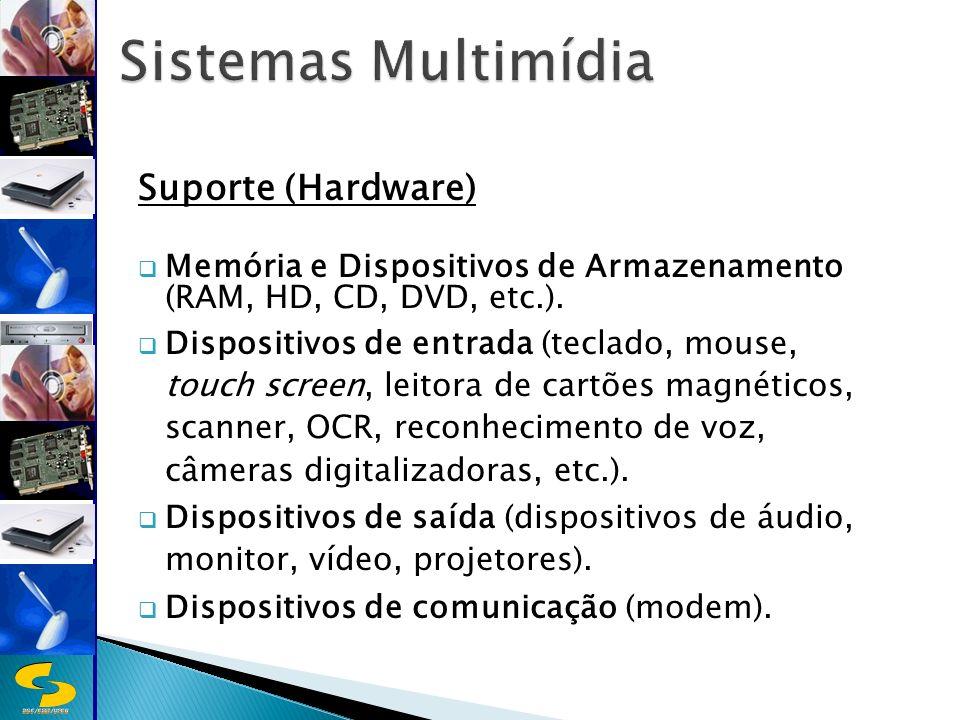 DSC/CEEI/UFCG Suporte (Hardware) Memória e Dispositivos de Armazenamento (RAM, HD, CD, DVD, etc.).