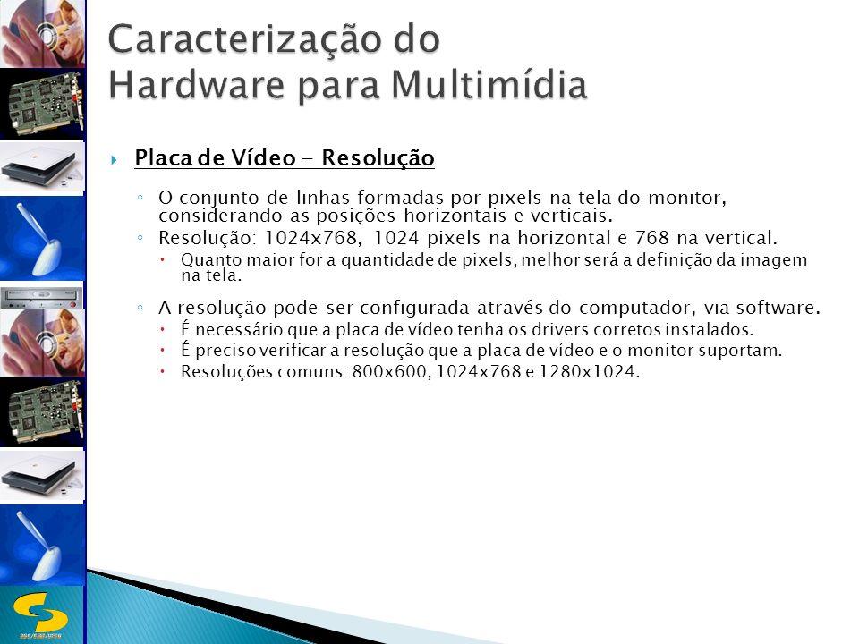 DSC/CEEI/UFCG Placa de Vídeo - Resolução O conjunto de linhas formadas por pixels na tela do monitor, considerando as posições horizontais e verticais.