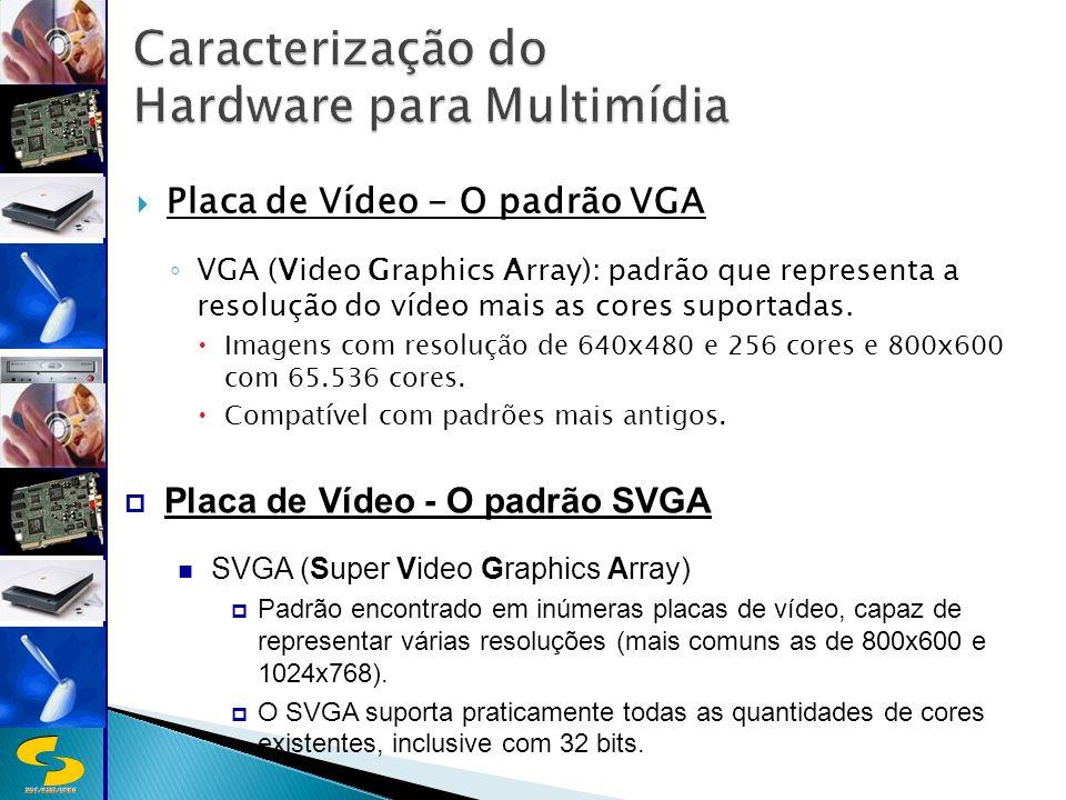 DSC/CEEI/UFCG Placa de Vídeo - O padrão VGA VGA (Video Graphics Array): padrão que representa a resolução do vídeo mais as cores suportadas.