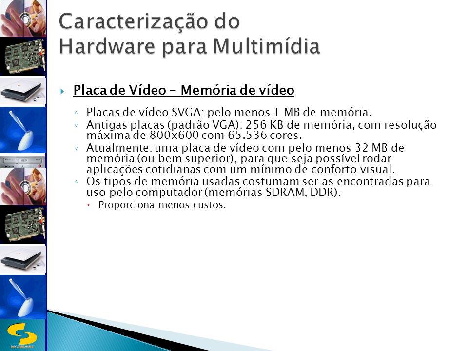 DSC/CEEI/UFCG Placa de Vídeo - Memória de vídeo Placas de vídeo SVGA: pelo menos 1 MB de memória.