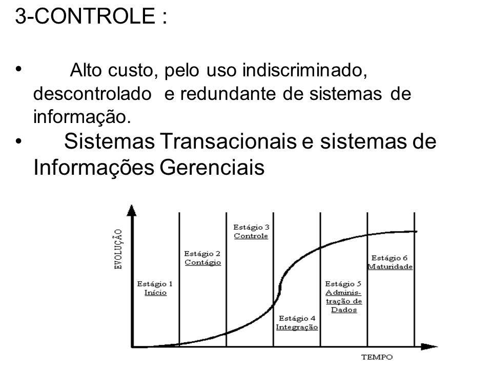 3-CONTROLE : Alto custo, pelo uso indiscriminado, descontrolado e redundante de sistemas de informação.