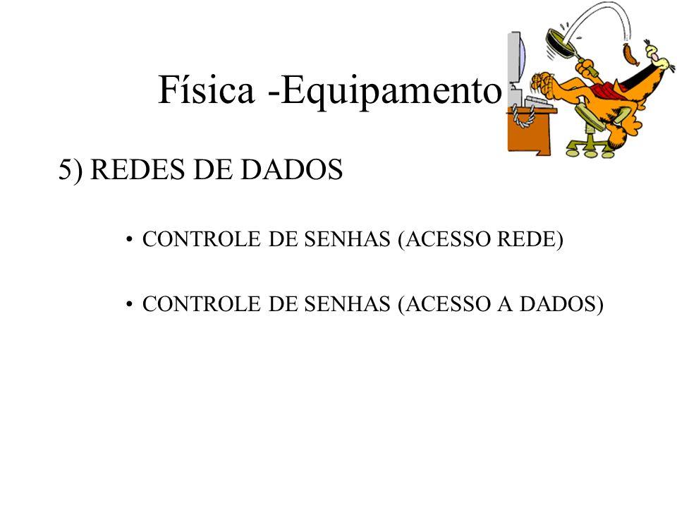 Física -Equipamentos 5) REDES DE DADOS CONTROLE DE SENHAS (ACESSO REDE) CONTROLE DE SENHAS (ACESSO A DADOS)