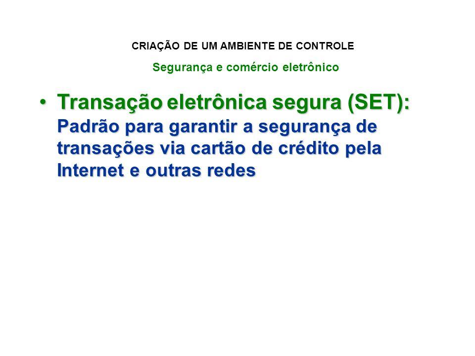 Transação eletrônica segura (SET): Padrão para garantir a segurança de transações via cartão de crédito pela Internet e outras redesTransação eletrôni