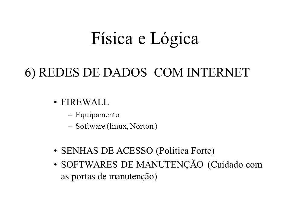 Física e Lógica 6) REDES DE DADOS COM INTERNET FIREWALL –Equipamento –Software (linux, Norton ) SENHAS DE ACESSO (Politica Forte) SOFTWARES DE MANUTEN
