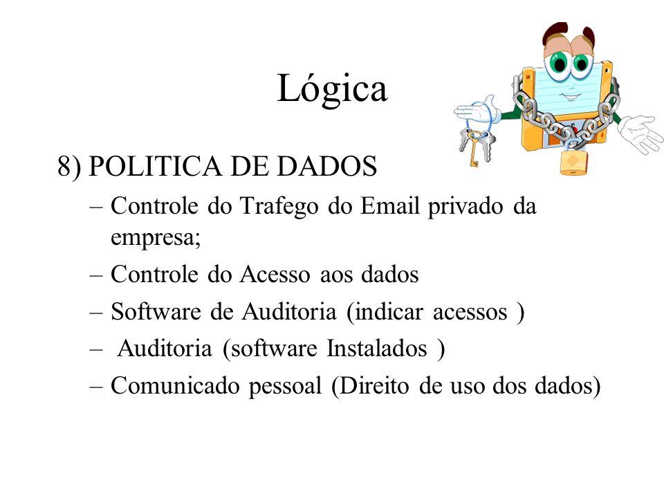 Lógica 8) POLITICA DE DADOS –Controle do Trafego do Email privado da empresa; –Controle do Acesso aos dados –Software de Auditoria (indicar acessos )