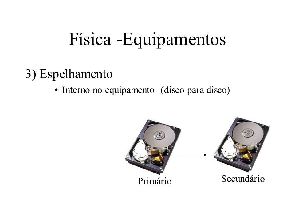 Física -Equipamentos 3) Espelhamento Interno no equipamento (disco para disco) Primário Secundário