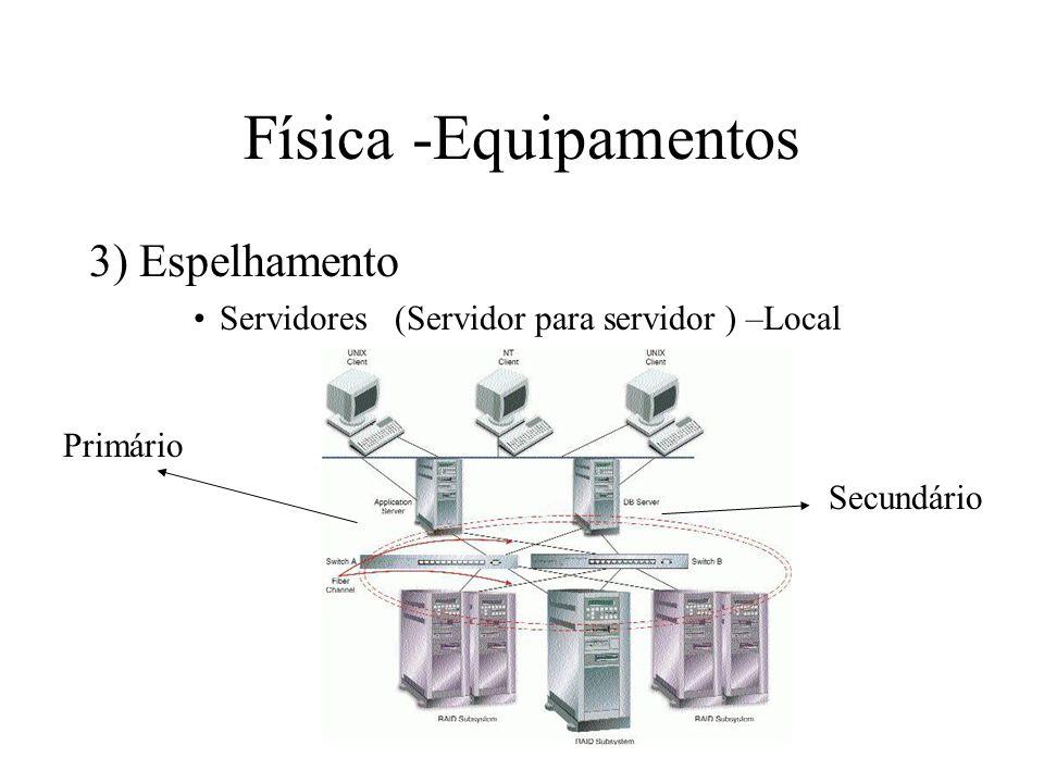 Física -Equipamentos 3) Espelhamento Servidores (Servidor para servidor ) –Local Primário Secundário