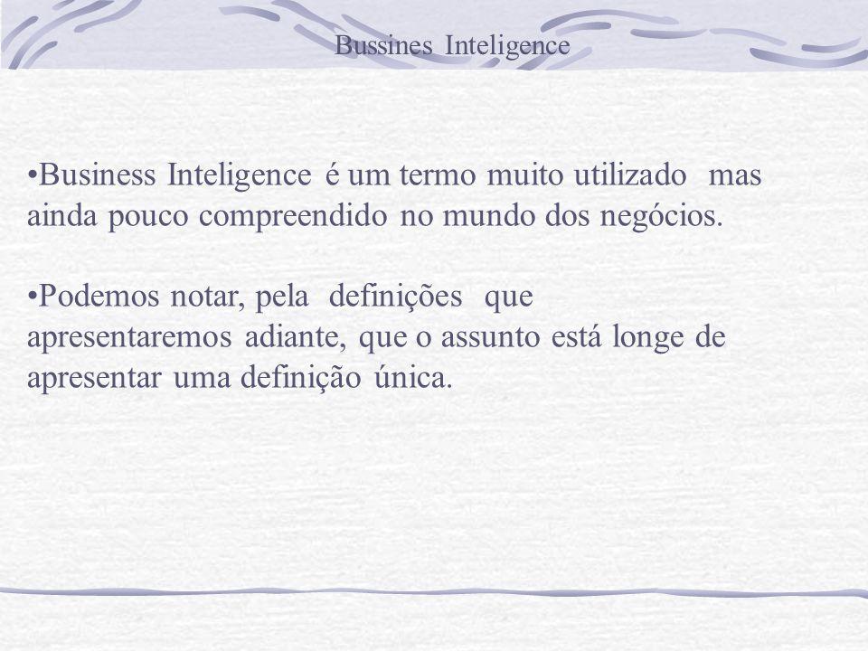 Bussines Inteligence Business Inteligence é um termo muito utilizado mas ainda pouco compreendido no mundo dos negócios. Podemos notar, pela definiçõe