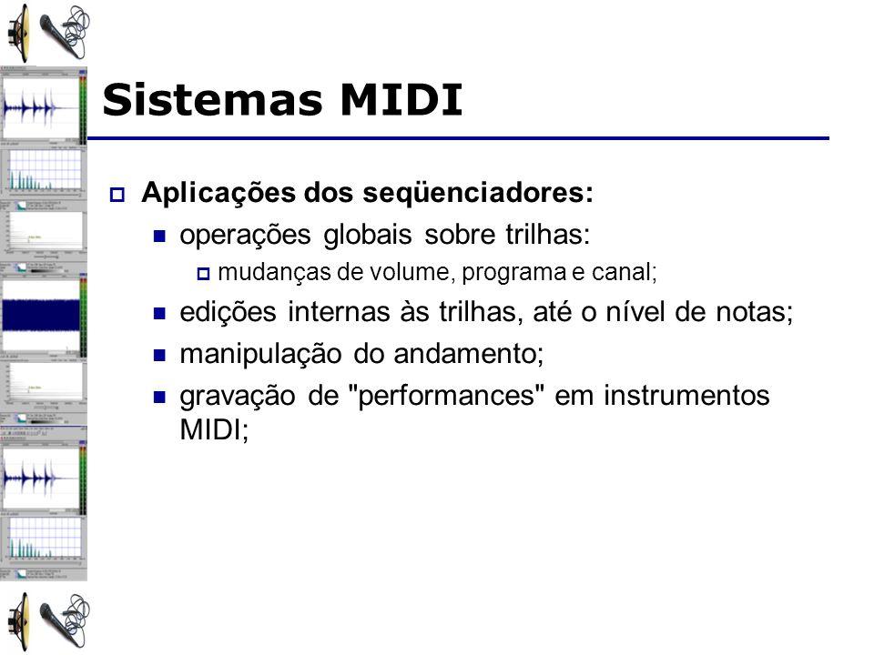 Sistemas MIDI Aplicações dos seqüenciadores: operações globais sobre trilhas: mudanças de volume, programa e canal; edições internas às trilhas, até o nível de notas; manipulação do andamento; gravação de performances em instrumentos MIDI;