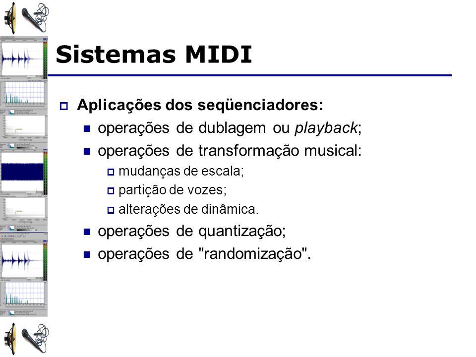 Sistemas MIDI Aplicações dos seqüenciadores: operações de dublagem ou playback; operações de transformação musical: mudanças de escala; partição de vozes; alterações de dinâmica.