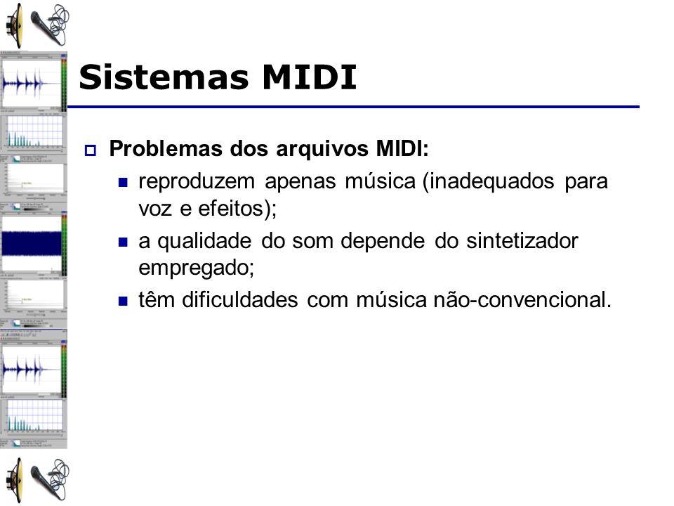 Sistemas MIDI Problemas dos arquivos MIDI: reproduzem apenas música (inadequados para voz e efeitos); a qualidade do som depende do sintetizador empregado; têm dificuldades com música não-convencional.