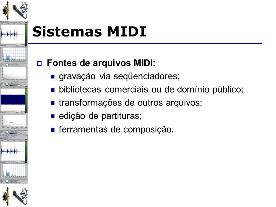 Sistemas MIDI Fontes de arquivos MIDI: gravação via seqüenciadores; bibliotecas comerciais ou de domínio público; transformações de outros arquivos; edição de partituras; ferramentas de composição.