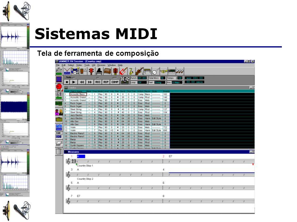 Sistemas MIDI Tela de ferramenta de composição
