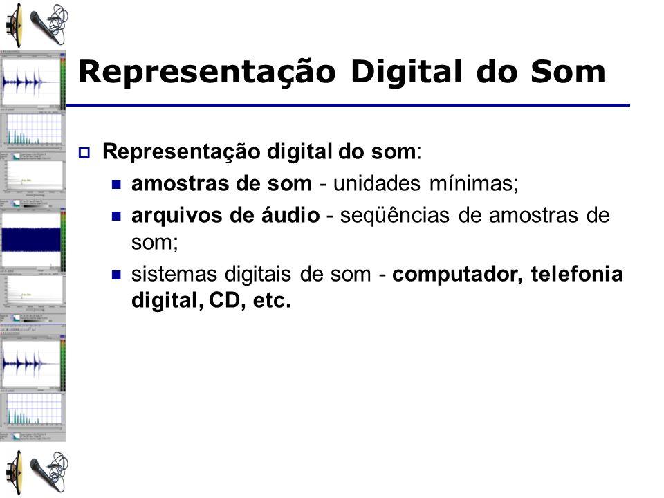 Representação Digital do Som Representação digital do som: amostras de som - unidades mínimas; arquivos de áudio - seqüências de amostras de som; sistemas digitais de som - computador, telefonia digital, CD, etc.