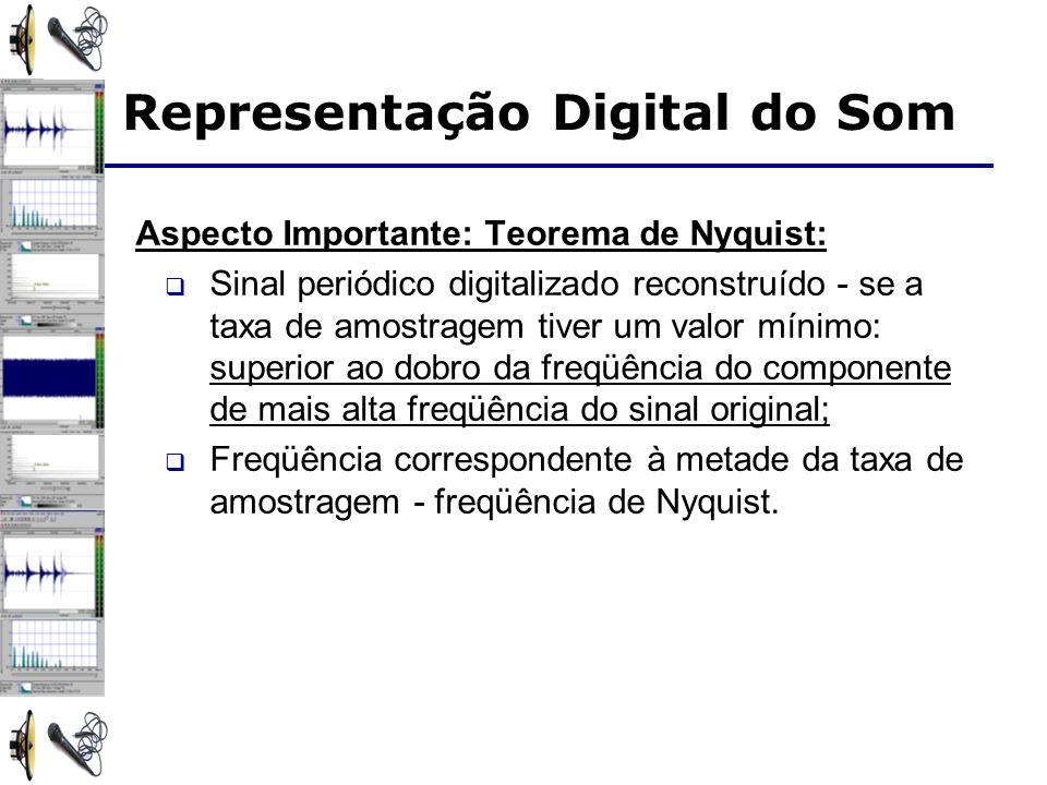 Aspecto Importante: Teorema de Nyquist: Sinal periódico digitalizado reconstruído - se a taxa de amostragem tiver um valor mínimo: superior ao dobro da freqüência do componente de mais alta freqüência do sinal original; Freqüência correspondente à metade da taxa de amostragem - freqüência de Nyquist.