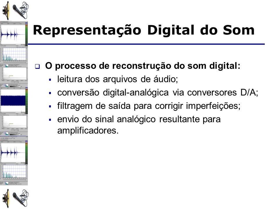Representação Digital do Som O processo de reconstrução do som digital: leitura dos arquivos de áudio; conversão digital-analógica via conversores D/A; filtragem de saída para corrigir imperfeições; envio do sinal analógico resultante para amplificadores.