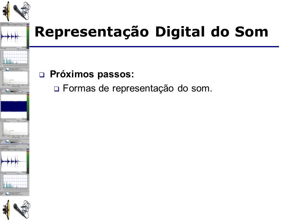 Representação Digital do Som Próximos passos: Formas de representação do som.