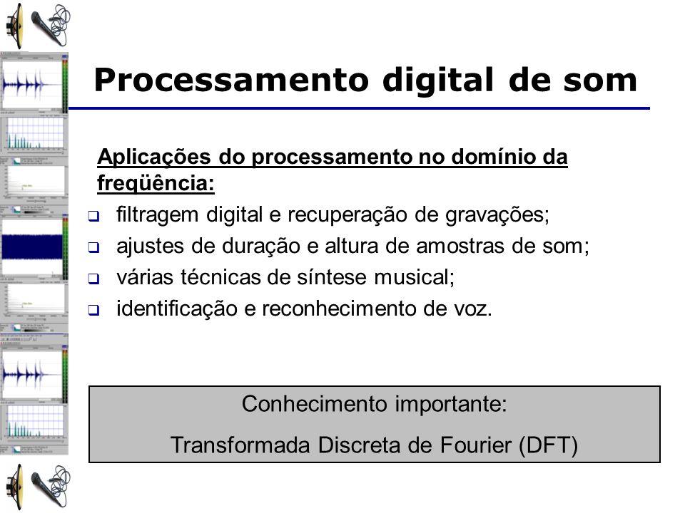 Aplicações do processamento no domínio da freqüência: filtragem digital e recuperação de gravações; ajustes de duração e altura de amostras de som; várias técnicas de síntese musical; identificação e reconhecimento de voz.