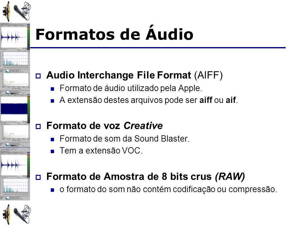 Audio Interchange File Format (AIFF) Formato de áudio utilizado pela Apple.