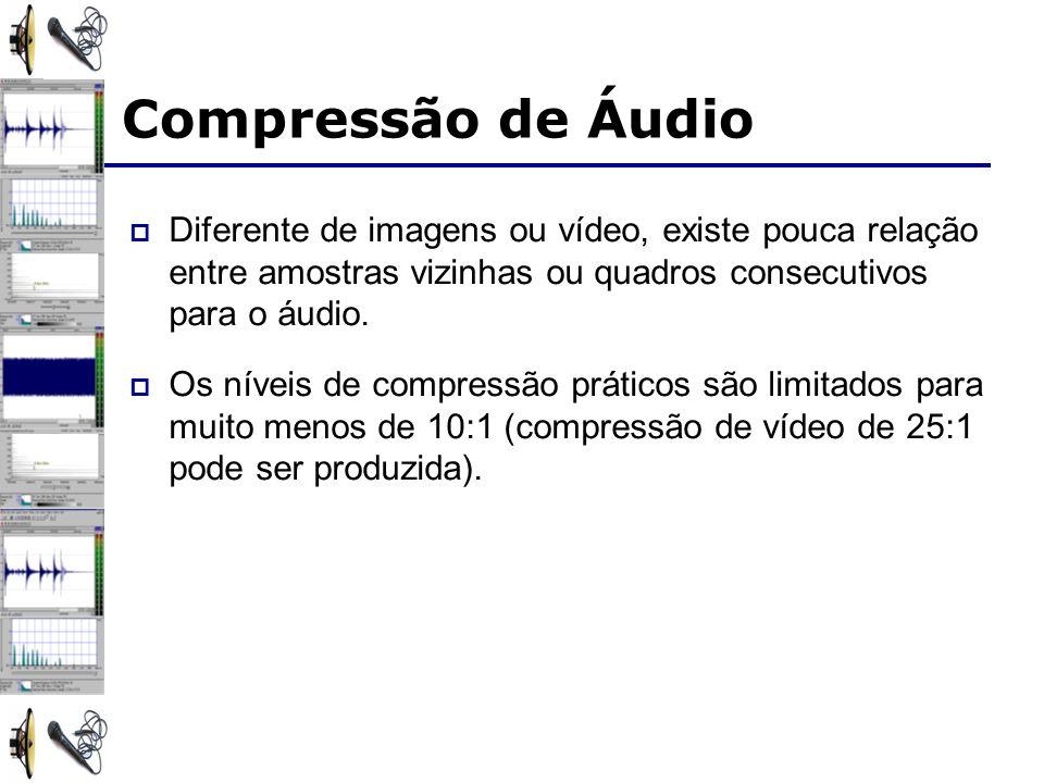 Compressão de Áudio Diferente de imagens ou vídeo, existe pouca relação entre amostras vizinhas ou quadros consecutivos para o áudio.