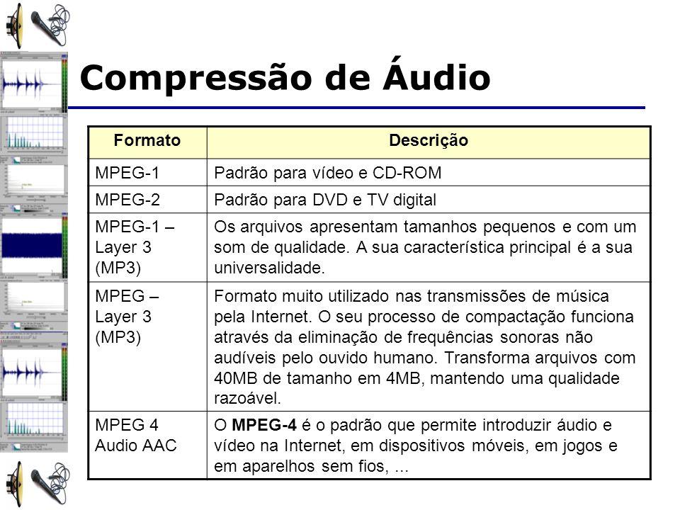 FormatoDescrição MPEG-1Padrão para vídeo e CD-ROM MPEG-2Padrão para DVD e TV digital MPEG-1 – Layer 3 (MP3) Os arquivos apresentam tamanhos pequenos e com um som de qualidade.