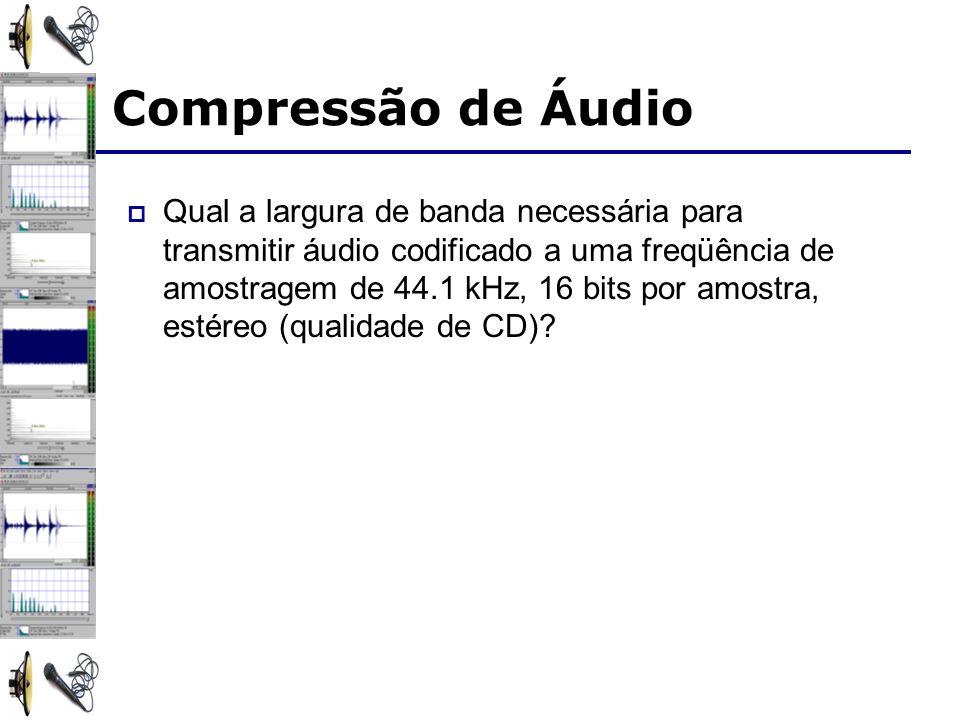 Qual a largura de banda necessária para transmitir áudio codificado a uma freqüência de amostragem de 44.1 kHz, 16 bits por amostra, estéreo (qualidade de CD).