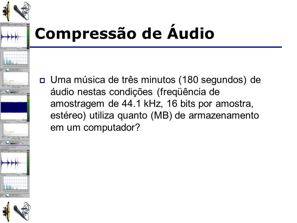 Uma música de três minutos (180 segundos) de áudio nestas condições (freqüência de amostragem de 44.1 kHz, 16 bits por amostra, estéreo) utiliza quanto (MB) de armazenamento em um computador.