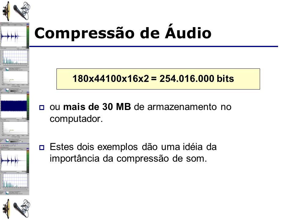 180x44100x16x2 = 254.016.000 bits ou mais de 30 MB de armazenamento no computador.