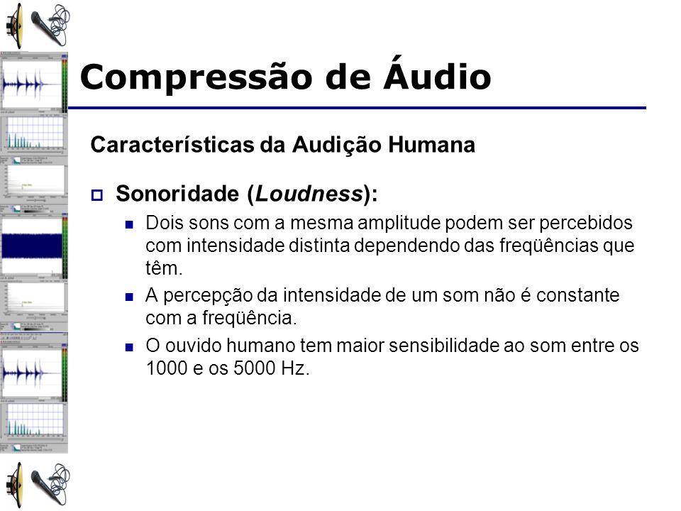 Características da Audição Humana Sonoridade (Loudness): Dois sons com a mesma amplitude podem ser percebidos com intensidade distinta dependendo das freqüências que têm.