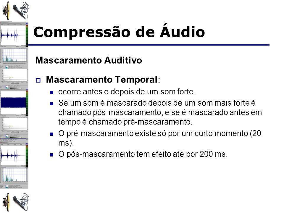 Mascaramento Auditivo Mascaramento Temporal: ocorre antes e depois de um som forte.