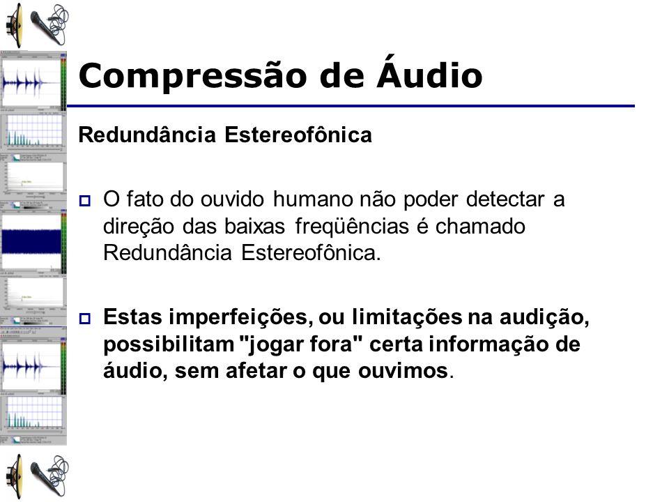 Redundância Estereofônica O fato do ouvido humano não poder detectar a direção das baixas freqüências é chamado Redundância Estereofônica.