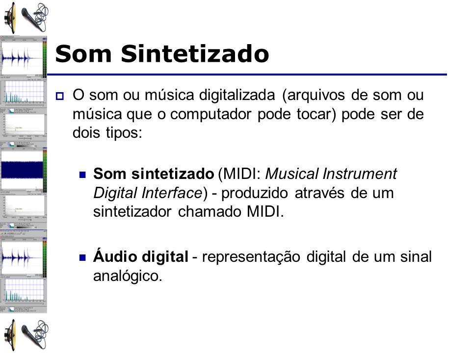 Som Sintetizado O som ou música digitalizada (arquivos de som ou música que o computador pode tocar) pode ser de dois tipos: Som sintetizado (MIDI: Musical Instrument Digital Interface) - produzido através de um sintetizador chamado MIDI.