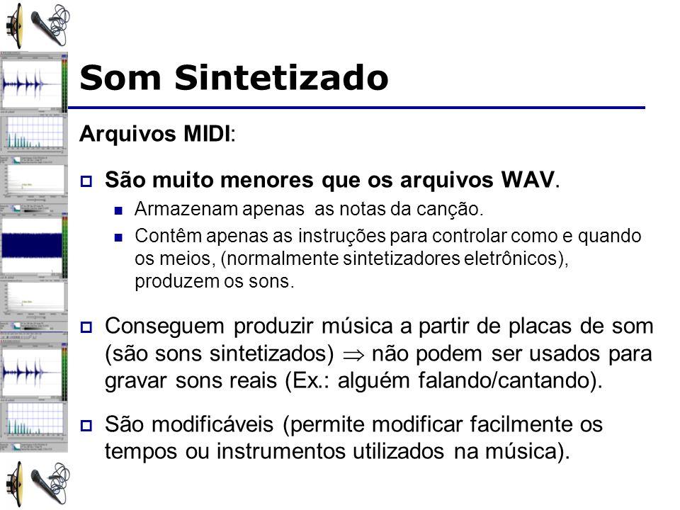 Arquivos MIDI: São muito menores que os arquivos WAV.