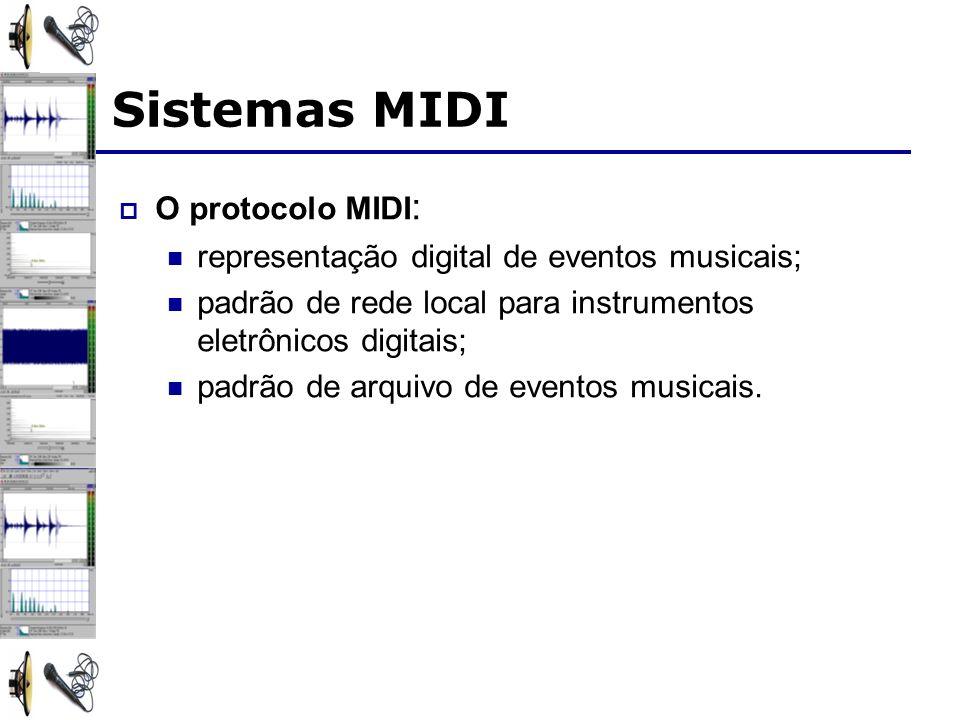 Sistemas MIDI O protocolo MIDI : representação digital de eventos musicais; padrão de rede local para instrumentos eletrônicos digitais; padrão de arquivo de eventos musicais.