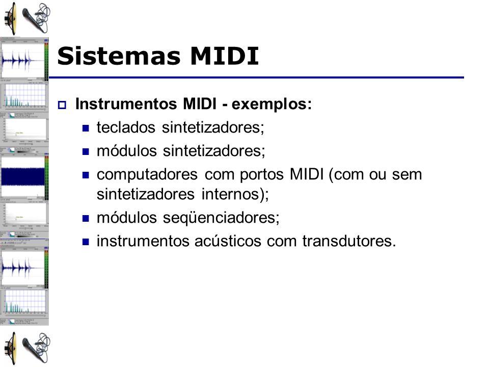 Sistemas MIDI Instrumentos MIDI - exemplos: teclados sintetizadores; módulos sintetizadores; computadores com portos MIDI (com ou sem sintetizadores internos); módulos seqüenciadores; instrumentos acústicos com transdutores.
