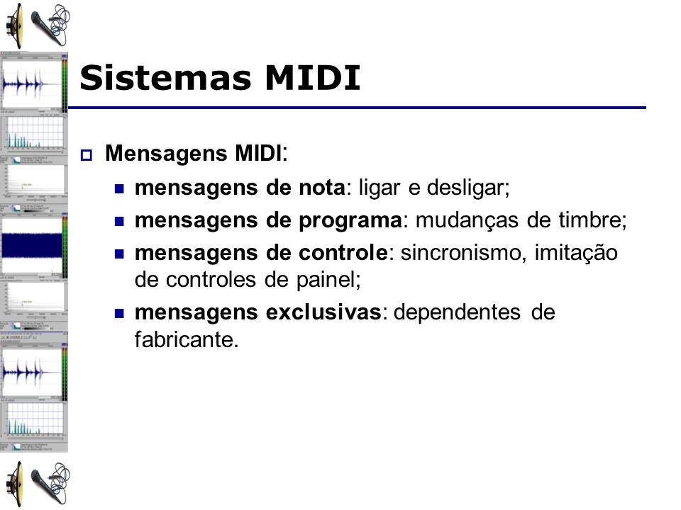 Sistemas MIDI Mensagens MIDI : mensagens de nota: ligar e desligar; mensagens de programa: mudanças de timbre; mensagens de controle: sincronismo, imitação de controles de painel; mensagens exclusivas: dependentes de fabricante.