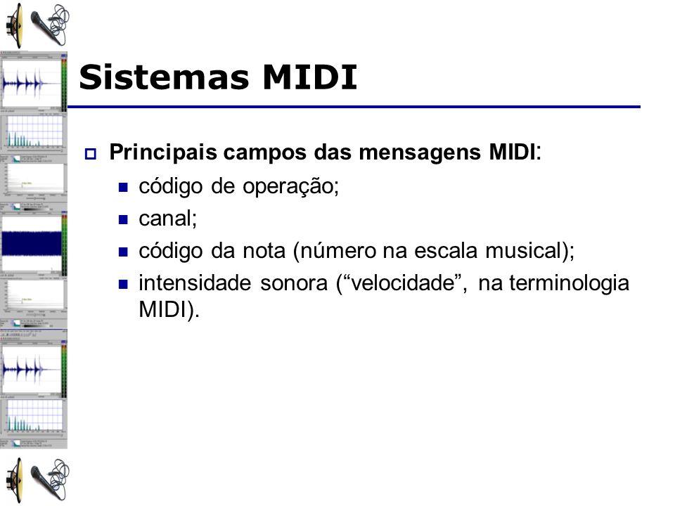 Sistemas MIDI Principais campos das mensagens MIDI : código de operação; canal; código da nota (número na escala musical); intensidade sonora (velocidade, na terminologia MIDI).